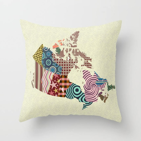 Canada Map Decorative Throw Pillow Cover Canada Art Cute Etsy Gorgeous Decorative Throw Pillows Canada