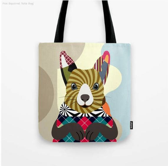 Squirrel Tote Bag, Animal Tote Decorative Squirrel Bag, Squirrel Lovers Gift Tote Bag, Animal Lovers Gift