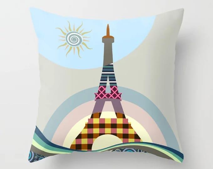 Eiffel Tower Pillow, French Cushion Paris Decor Gift