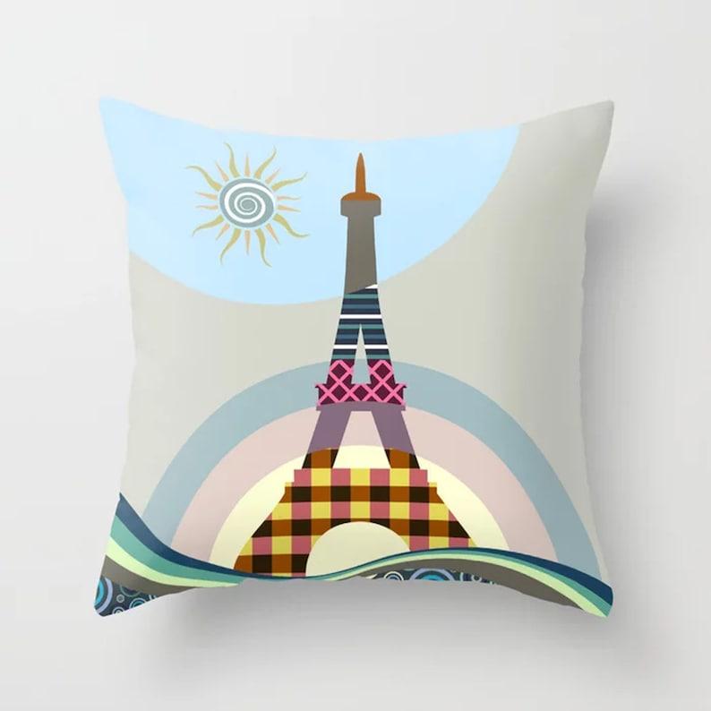 Eiffel Tower Pillow French Cushion Paris Decor Gift image 0