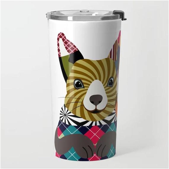 Squirrel Travel Mug, Stainless Steel Tumbler Animal Art