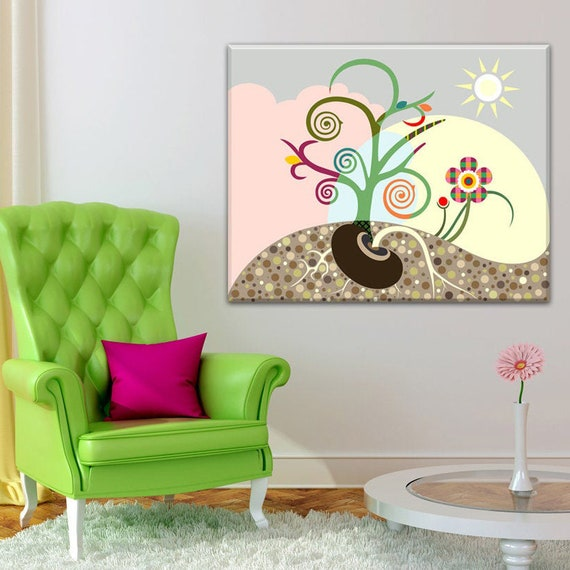 Canvas Tree Art, Inspirational Wall Art, Abstract Tree Flower Painting, Abstract Tree Wall Art, Abstract Tree Print, Tree Canvas Painting