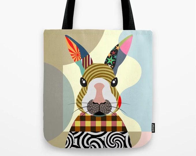 Bunny Tote, Rabbit Lover Gift Cony Bag Farm Animal