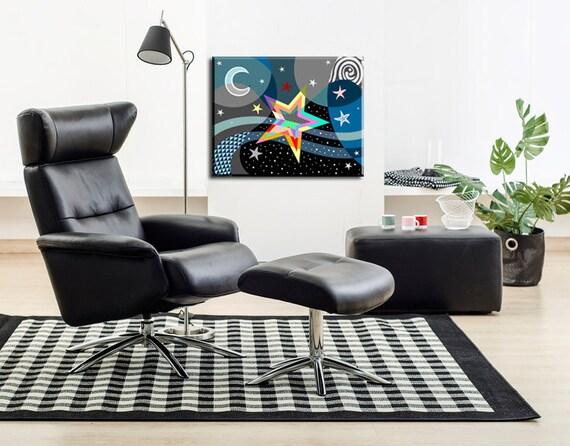 Star Art Print, Star Wall Art, Pop Art Star, Star Gifts, Star Poster, Stars And Moon, Star Decoration, Geometric Art, Cubist Art
