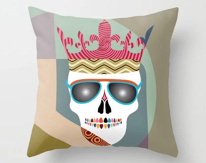 Skull Throw Pillow, Skeleton Cushion Halloween