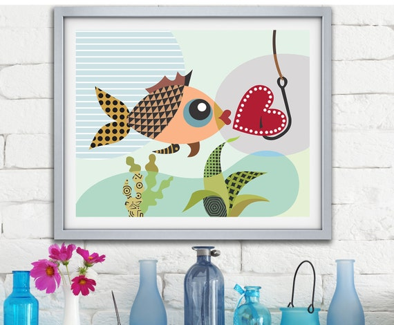 Valentine Decor, Love Gift, Love Fish, Love Sign, Valentines Day Decor, Gift for Couple, Gift For Her, Love Poster