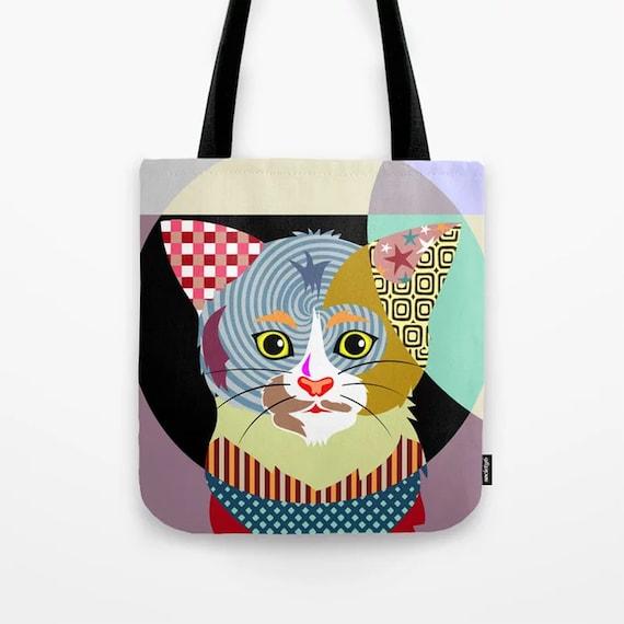 Cat Tote Bag , Kitten Print Canvas Shoulder Sack