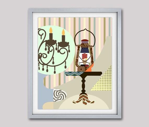 Lantern Art, Lantern Painting, Retro Poster, Retro Wall Decor, Lantern Decor, Oil Lantern Converted To Electric, Vintage Lantern Art