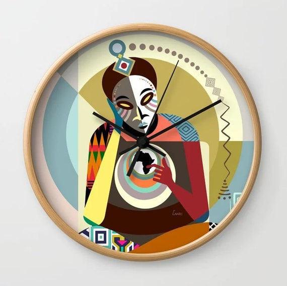 African Wall Clock Decor Art Print, Afrocentric Gift Clock