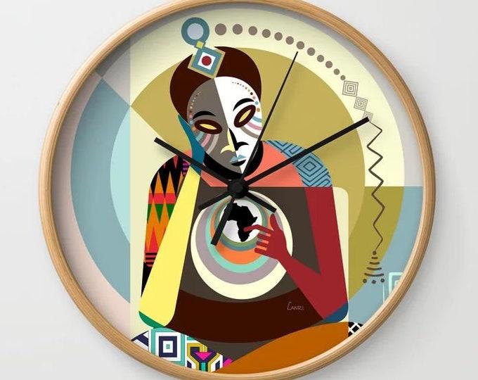 African Wall Clock Decor Art Print, Afrocentric Gift Clock