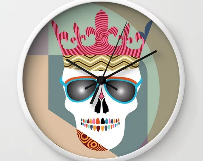 Skull  Clock, Halloween Decor Colorful Skeleton