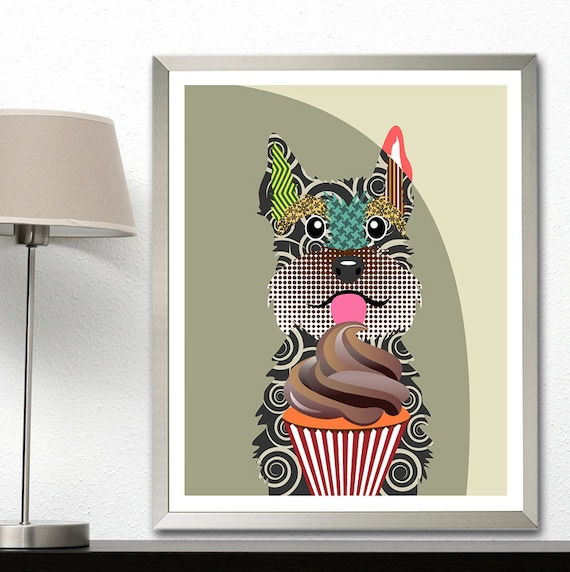 Schnauzer Wall Art Print Decor, Dog Portrait Painting