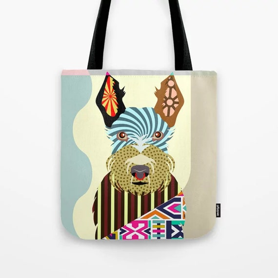 Scottish Terrier Bag, Doggy Printed Sack Puppy Tote