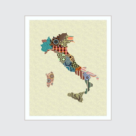 Italy Map Wall Art Print, Rome Poster Painting