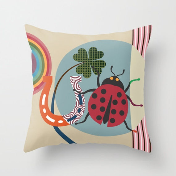 Goodluck Charm Gift Insect Pillow, Lady Bug Design Pillow,  Designer Colourful Pillows, Decorative Unique Throw Pillow