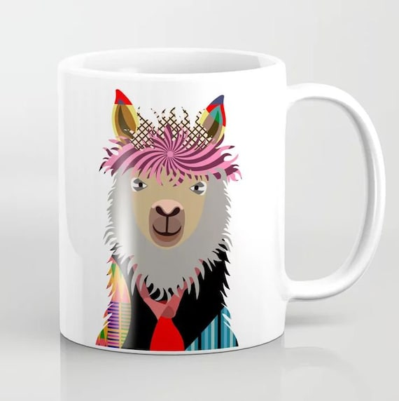 Llama Mug, 11, 15 oz  Ceramic Coffee Tumbler