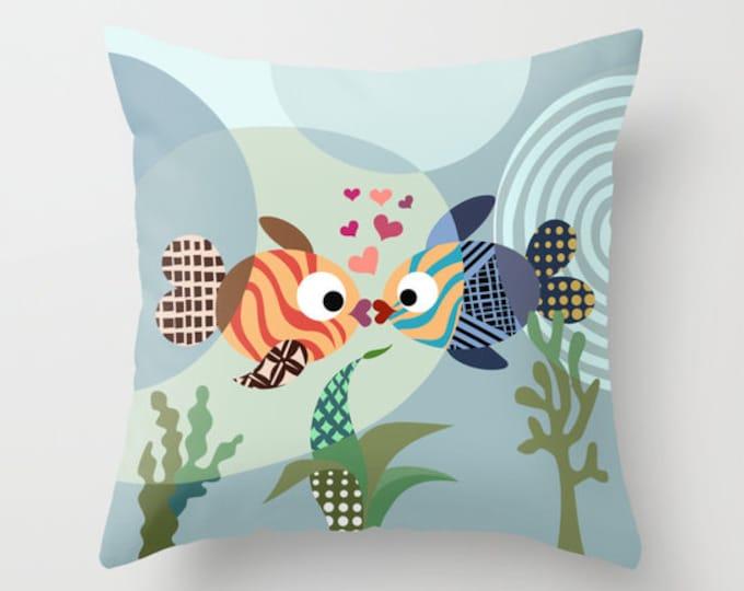 Love Fish Pillow, Kissing Fish Décor Anniversary Gift