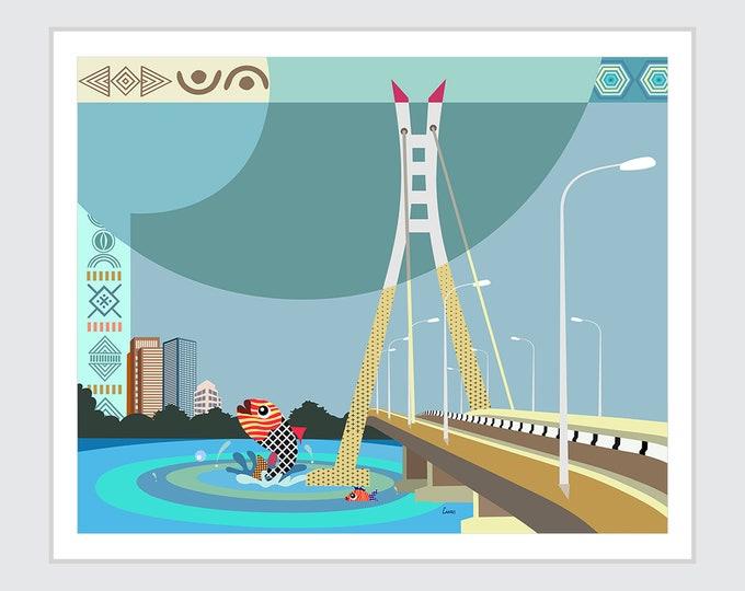 Lekki Ikoyi Bridge, Lagos Nigeria Art Painting Gift Home Decor