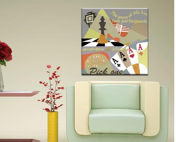 Original Acrylic Painting, Board Game Art, Game Painting, Poker Art, Poker Decor, Chess Art, Chess Decor, Chess Painting, Game Lover Gift