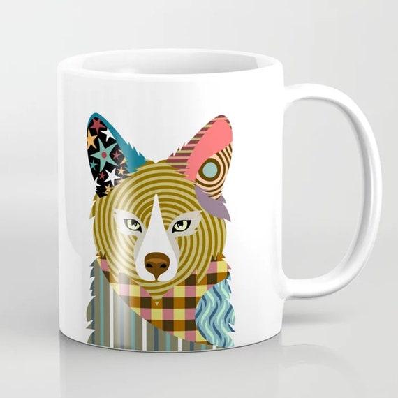 Fox Coffee Mug, Colorful  Woodland Animal Cup