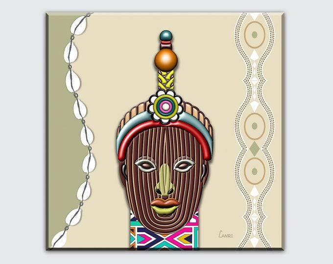 Yoruba Painting Wall Art, Odùduwà Art Print Ori Olokun Head Ile Ife