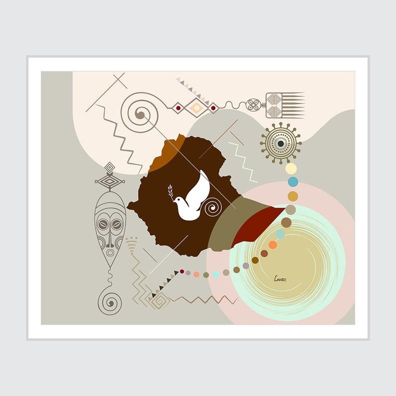 Ethiopia Poster Ethiopia Map Art Print Wall Decor Addis image 0