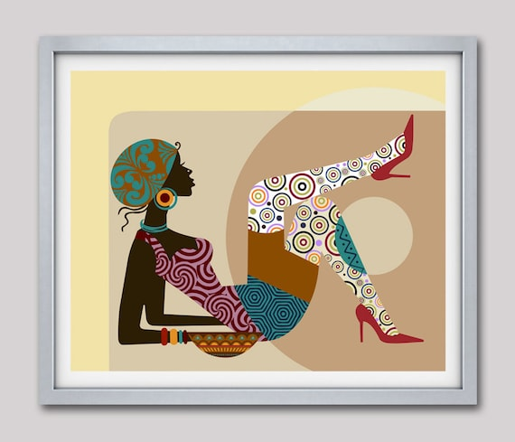 African American Art, Gift for Wife, Gift for Woman, Girls Room Decor, African Wall Decor, Black Woman, African Print, South African Art