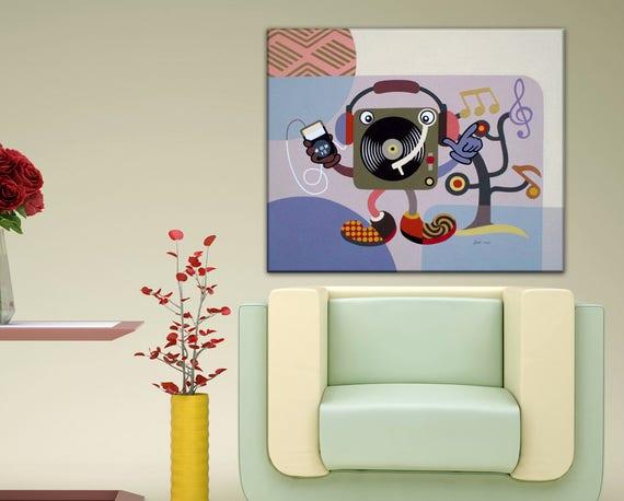 Large Pop Art on Canvas, Abstract Music Art, Original Music Art Decor, Turntable Retro Painting, Humorous Art on Canvas, Music Wall Art