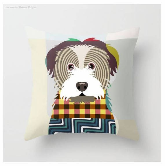 Havanese Pillow, Havanese Gift, Havanese Lovers Gifts,  Havanese Print,  Havanese Decor, Animal Pillow, Pet Gifts, Pet Pillow
