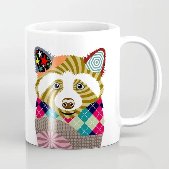 Raccoon Mug, Nursery Animal Cup Kids Gift