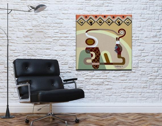 Abstract Geometric Art, Cubist Painting, Original Acrylic Painting, Canvas Wall Art, Harmony Art