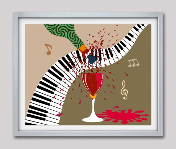 Music Art Decor. Wine Glass Art Decor, Wine Painting Party Decor, Piano Music Poster, Piano Decor, Music Note Art