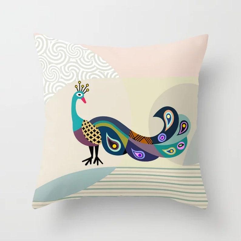 Peacock Pillow Bird Cushion Peafowl Print Decor image 0
