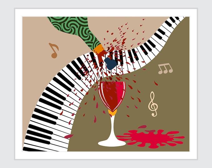 Music Piano Note Art Decor. Wine Lover Gift
