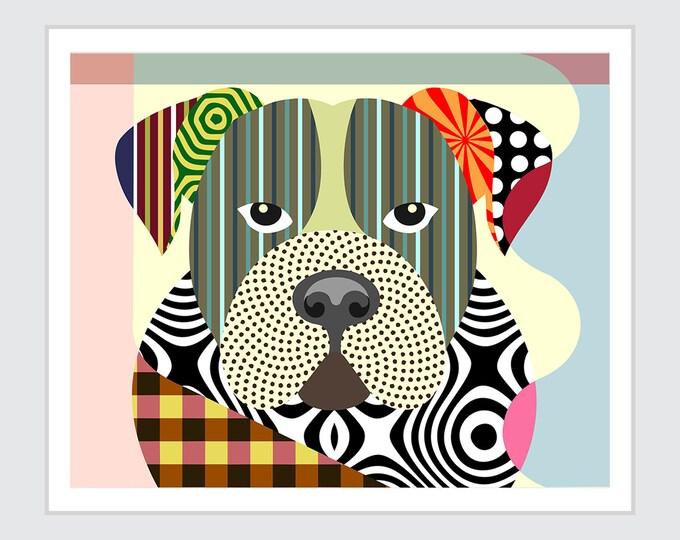 American Bulldog, Dog Breed Poster Pet Portrait