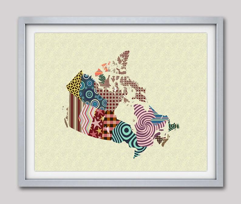 Canada Map City Decor Geometric Design Cubist Art