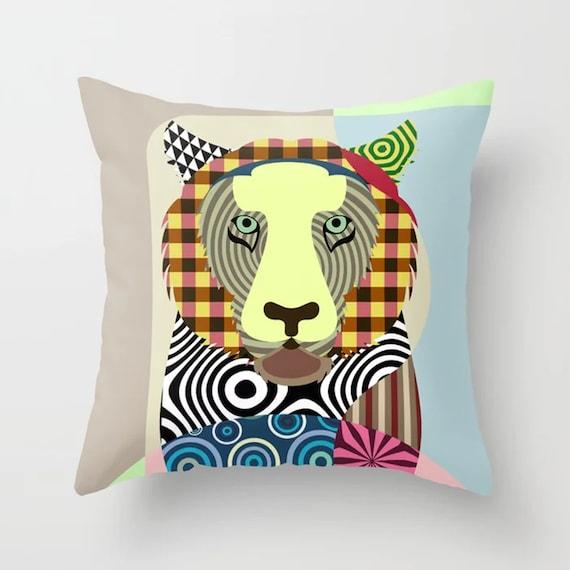 Tiger Throw Pillow, Wildcat Cushion Jungle Animal