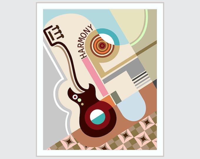 Geometric Wall Art Decor, Bauhaus Poster Abstract Cubist Painting