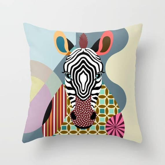 Zebra Home Decor Pillow, Colorful Animal Print