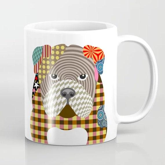 English Bulldog Mug, British Puppy Coffee Ceramics Cup
