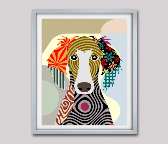 Saluki Dog Art Print Painting, Saluki Gift, Dog Portrait, Dog Pop Art, Dog Print, Dog Art,  Pet Portrait, Dog Painting