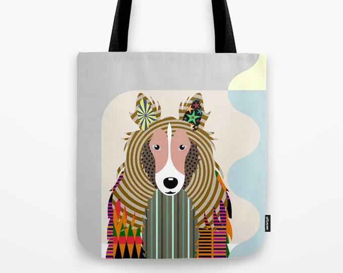 Shetland sheepdog Tote, Sheltie Gifts Dog Printed Canvas Bag