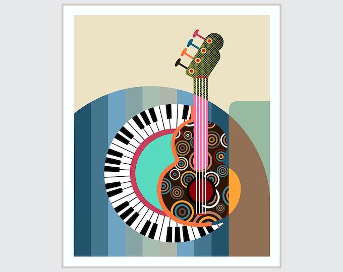 Piano Art Print Guitar Painting, Music Teacher Gift