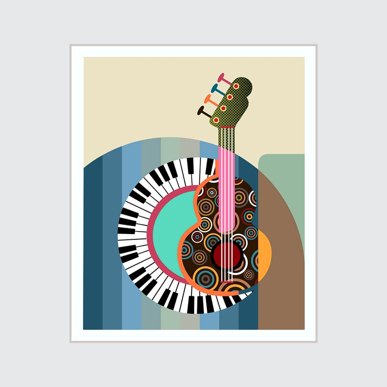 Piano Art Print Guitar Painting Music Teacher Gift image 0
