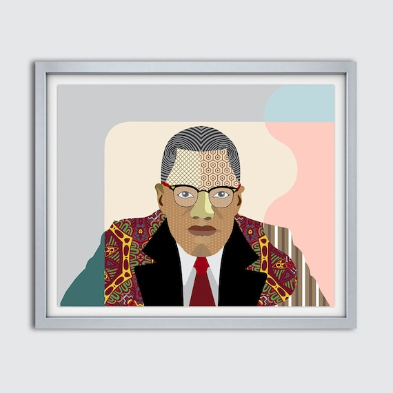 Malcolm X Wall  Art, Malcolm X, African American Social Activist,  Civil Rights Activist, Black History Month, African American