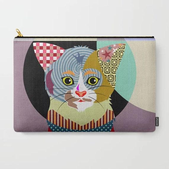 Cat Zipper Pouch, Kitten Coin Purse  Pet Lover