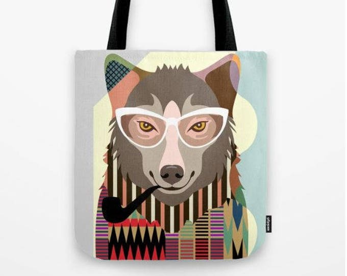 Wolf Tote Gift Bag, Funny Wild Wolf Art