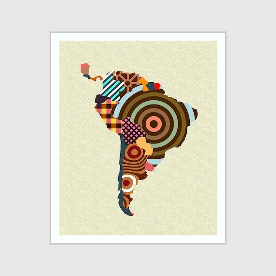 South America Map Art Print, Latin America Poster
