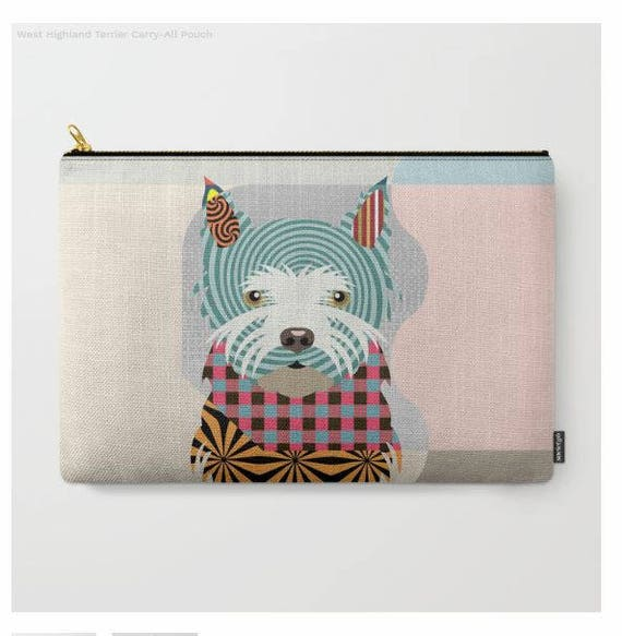 Westie Pouch, Westie Wallet, Westie Purse, Westie Gifts, Dog Wallet, Pet Pouch, Dog Pouch, Zipper Purse,  Dog Zipper Pouch
