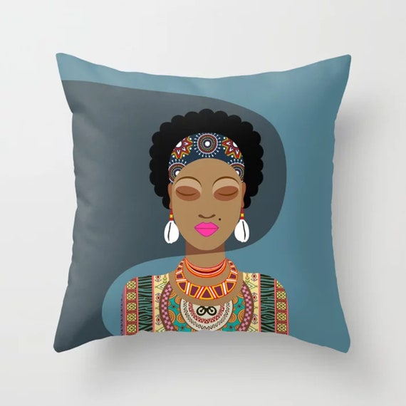 Black Woman Pillow, Afro Hair Diva Girl Magic